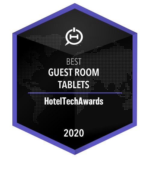 2020 Winner Badge for Best Guest Room Tablet at the HotelTechAwards