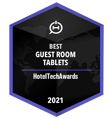 Badge for Best Guest Room Tablets 2021 won by SuitePad