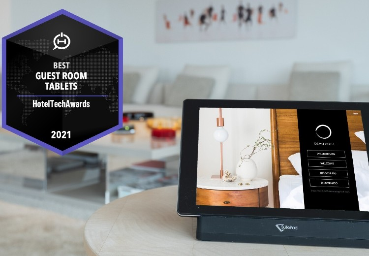 SuitePad win the 2021 HotelTechAward for Best Guest Room Tablet