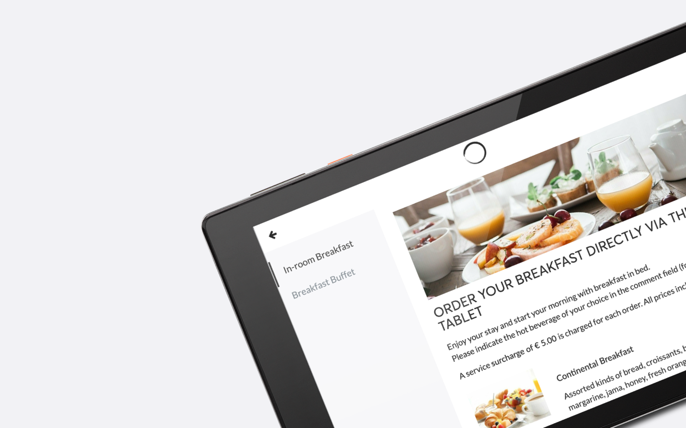 SuitePad & COVID-19: order breakfast via the tablet