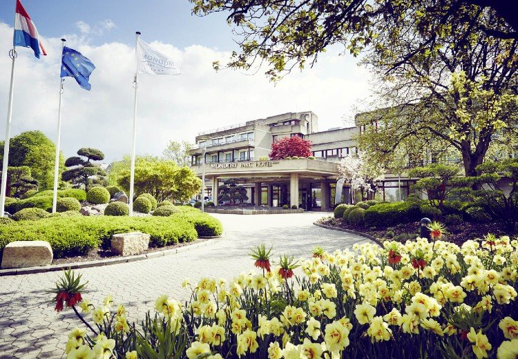 The Mondorf Parc Hotel entrance on a sunny day