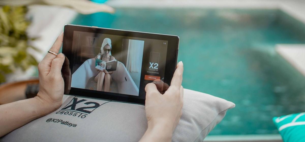 Nutzung eines SuitePads im Spa-Bereich