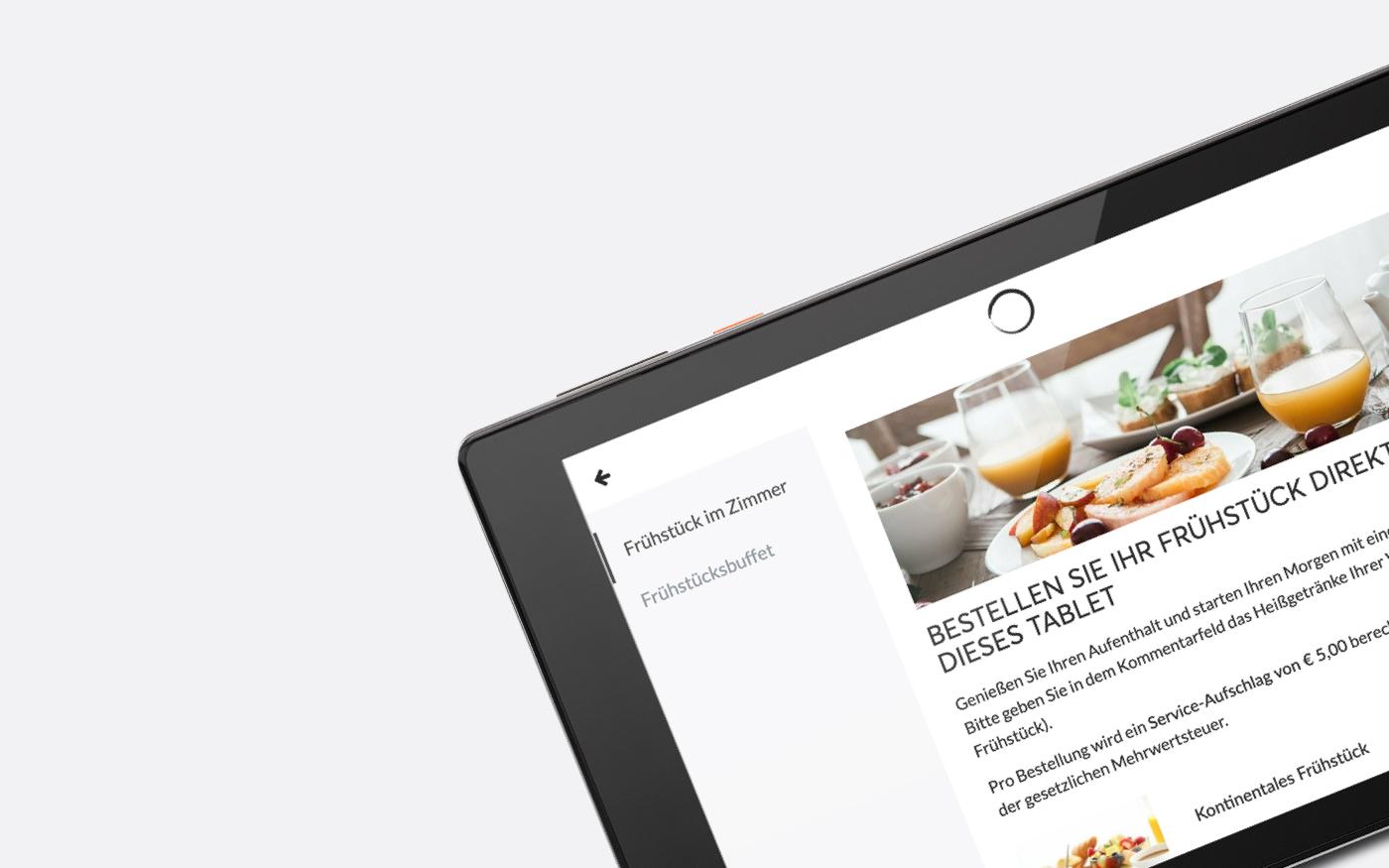 Über das SuitePad Tablet kann man in Zeiten von COVID-19 das Frühstück aufs Zimmer bestellen.